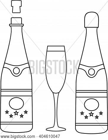 Vector Bottle Of Champagne Explosion And Glasses, Thin Line Style. Drawing Of Two Glasses Of Champag