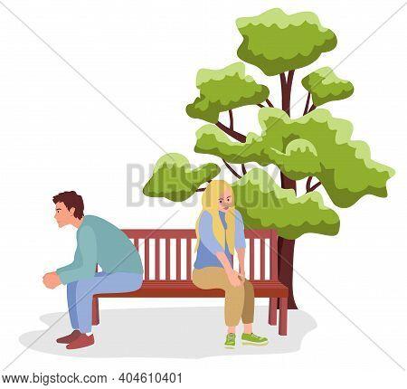 Vector Illustration Of Couple Quarrel Scene. Dispute Between Lovers, Man, Woman Sitting Against Each