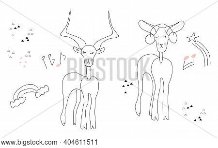 Doodle Vector Gazelle And Saiga Or Antelope,couple In Love.saiga Listening To Music With Headphones.