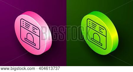 Isometric Line Ticket Office To Buy Tickets For Train Or Plane Icon Isolated On Purple And Green Bac