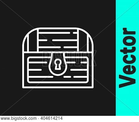 White Line Antique Treasure Chest Icon Isolated On Black Background. Vintage Wooden Chest With Golde