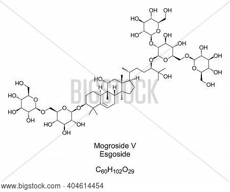 Mogroside V, Esgoside, Chemical Formula And Structure. Main Component Of The Monk Fruit Extract, Use