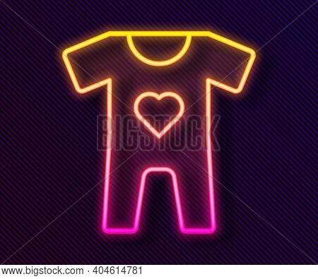 Glowing Neon Line Baby Clothes Icon Isolated On Black Background. Baby Clothing For Baby Girl And Bo