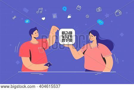 Qr Code Multipurpose Usage. Flat Vector Illustration Of Smiling Woman Holding Holding A Card With Qr