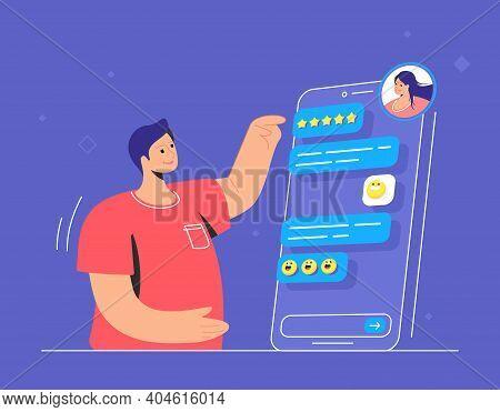Happy Teenagers Chatting Online In Messenger App. Flat Line Vector Illustration Of Smiling Man Havin