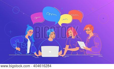 Four Guys Working As Team And Talking With Speech Bubbles. Flat Line Vector Illustration Of People W
