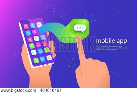 Isometric Smartphone With Messenger Application Flying Out The Screen For A Presentation. Mobile Cha