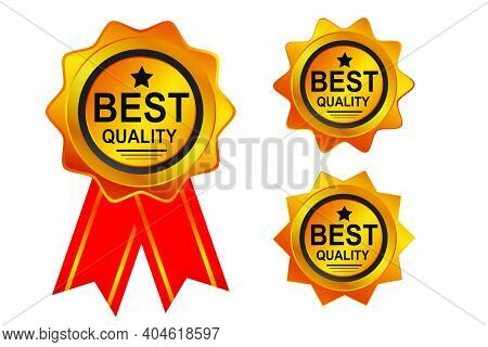 Vector Golden Tag Or Badge, Golden Quality, Isolated On White.