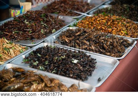 Salt-fried Insects In Food At Thai Markets, This Type Of Food Is Popular With Thai Peoples.