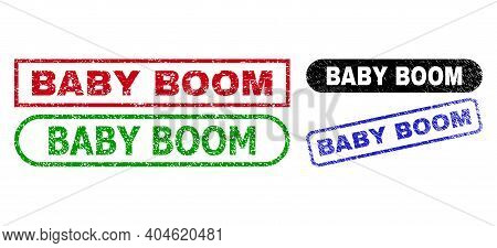 Baby Boom Grunge Seal Stamps. Flat Vector Grunge Seal Stamps With Baby Boom Title Inside Different R