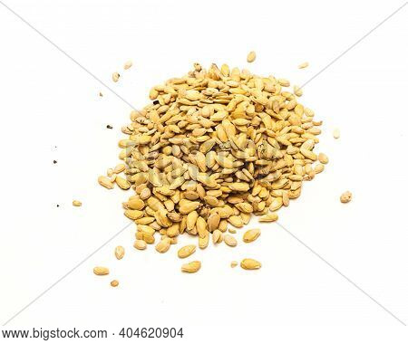 Top View Pile Of Winter Melon Wax Gourd Seeds Isolated On White Background