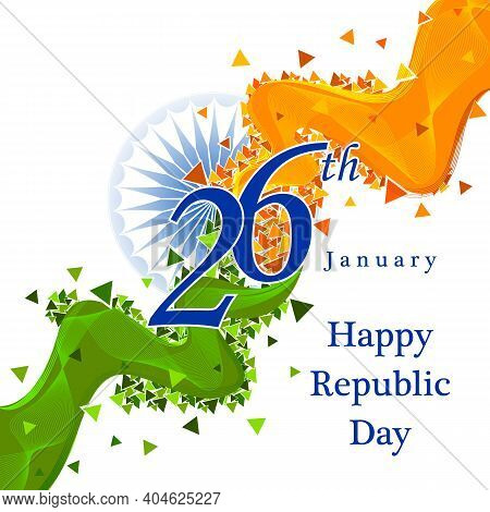 Vector Design Of Abstract Tricolor Indian Flag Background For 26 January Happy Republic Day Of India