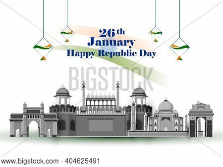 Vector Design Of Abstract Tricolor Indian Flag Background With Famous Historical Monument For 26 Jan