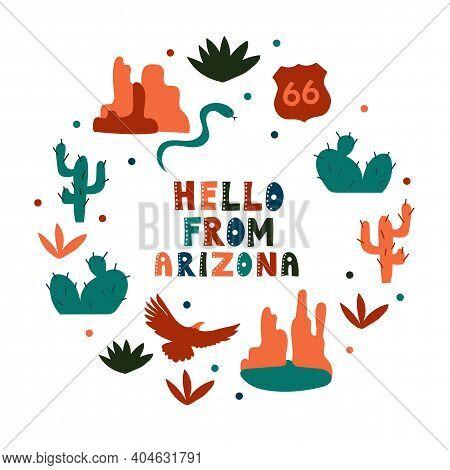 Usa Collection. Hello From Arizona Theme. State Symbols Round Shape Card