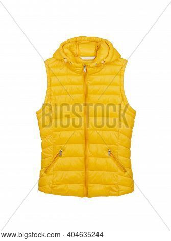 Yellow Sports Vest With Hood And Zipper Isolated On White Background.
