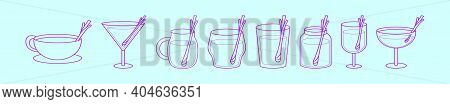 Set Of Drinking Glass With Lemongrass Cartoon Icon Design Template With Various Models. Modern Vecto