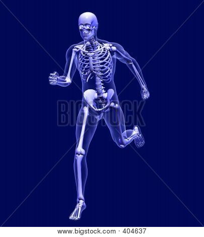 X-ray Man Running On Blue