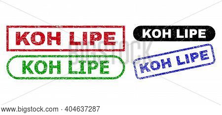 Koh Lipe Grunge Watermarks. Flat Vector Distress Seal Stamps With Koh Lipe Text Inside Different Rec