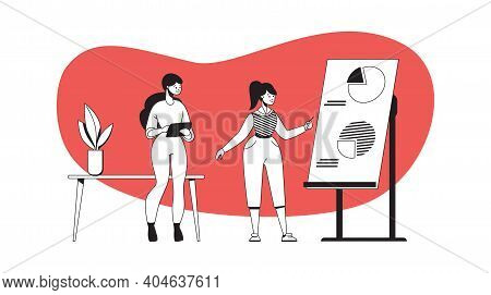 Business Presentation And Negotiation On Project. Cartoon Woman Pointing With Pointer To Diagram On