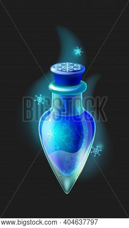 Magic Elixir. Cartoon Frost Potion. Closed Small Phial Full Of Blue Cold Liquid With Snowflakes. Iso