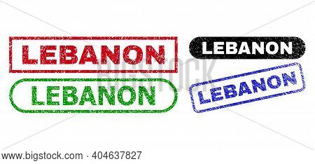 Lebanon Grunge Seal Stamps. Flat Vector Grunge Watermarks With Lebanon Phrase Inside Different Recta