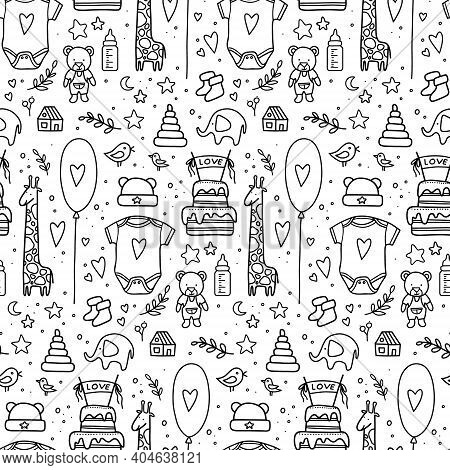 Hand Drawn Baby Seamless Pattern. Vector Illustration. Doodle Baby Pattern Isolated. Kid Birthday Pa