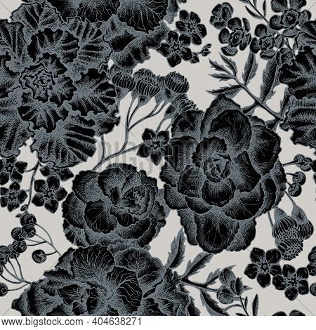 Seamless Pattern With Hand Drawn Stylized Wax Flower, Forget Me Not Flower, Tansy, Ardisia, Brassica