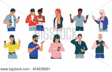 People With Phones. Cartoon Happy And Disappointed Men And Women With Mobile Phones, Exchange Messag