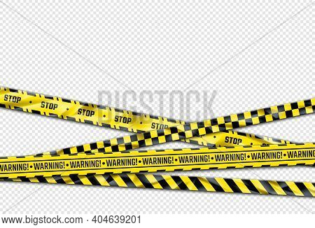 Warning Ribbon. Realistic Adhesive Barricade Tape. Black And Yellow Barrier, Stop Sign. Crossed Caut