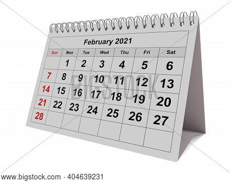 One Page Of The Annual Monthly Calendar - Month February 2021
