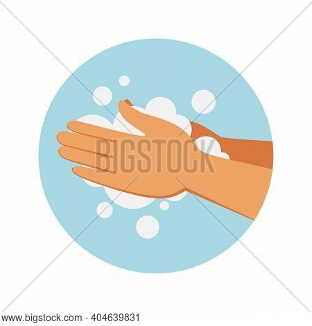 Soap Hand Wash. Cleaning Process. Round Icon With Cartoon Soapy Arms. Human Limbs And Cleanser Foam.