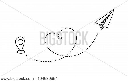 Plane Flight. Flying Paper Airplane With Heart Shaped Trace And Location Mark. Love Symbol Of Travel