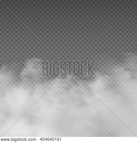 Smoke Effect. Realistic White Mist. Rising Steam Or Gas On Transparent Background. Mysterious Smog.