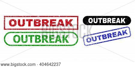 Outbreak Grunge Seals. Flat Vector Scratched Seals With Outbreak Slogan Inside Different Rectangle A