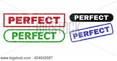 Perfect Grunge Seals. Flat Vector Grunge Stamps With Perfect Slogan Inside Different Rectangle And R