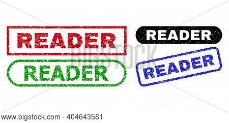 Reader Grunge Watermarks. Flat Vector Grunge Seal Stamps With Reader Message Inside Different Rectan