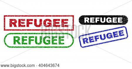Refugee Grunge Seal Stamps. Flat Vector Scratched Seal Stamps With Refugee Message Inside Different