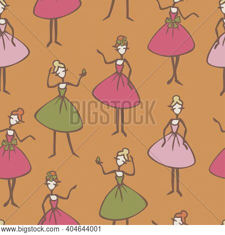 Vector Seamless Pattern With Ladies Cartoon Characters. Ladies In Colorful Dresses In Different Pose
