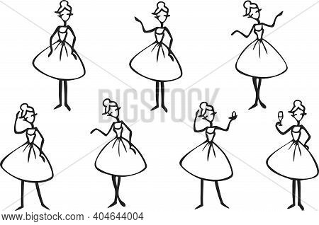 Vector Set With Lady Cartoon Character Silhouettes. Black And White Ladies In Different Poses.