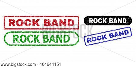 Rock Band Grunge Stamps. Flat Vector Scratched Seal Stamps With Rock Band Phrase Inside Different Re