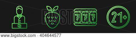 Set Line Slot Machine With Lucky Sevens, Casino Dealer, Casino Slot Machine With Strawberry And 21 P