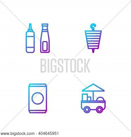 Set Line Fast Street Food Cart, Soda Can With Straw, Sauce Bottle And Grilled Shish Kebab. Gradient
