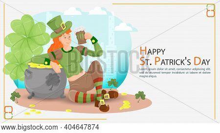 Flat Illustration Banner For Decorating Designs, On The Theme Of Celebrating The Irish St. Patricks
