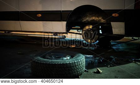 Dismantling Of Cars, Replacement Of Car Brake Pads. The Car Is Being Repaired. Tire Service.