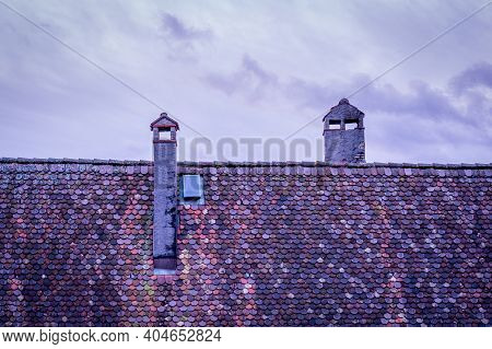 Traditional Red Roofs With Chimney With Sky. Lavaux Religion, Vaud Canton, Switzerland.