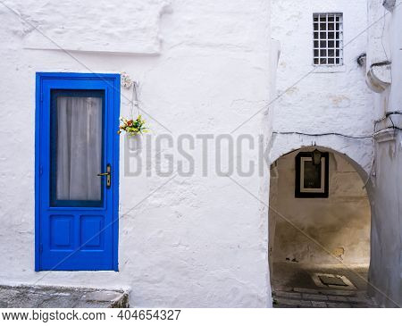 Stunning Old Blue Door On Typical White House, Ostuni, Apulia Region, Southern Italy