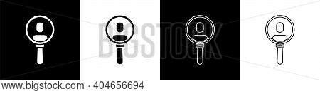 Set Magnifying Glass For Search A People Icon Isolated On Black And White Background. Recruitment Or