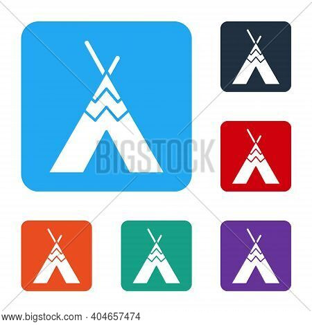 White Traditional Indian Teepee Or Wigwam Icon Isolated On White Background. Indian Tent. Set Icons