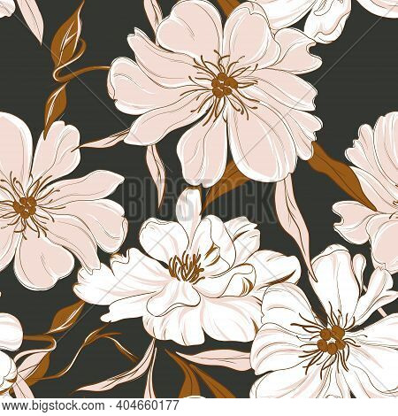 Floral Garden Bouquet. Oriental Peony Seamless Background. Leaves Flowers Bloom Botanical Drawing
