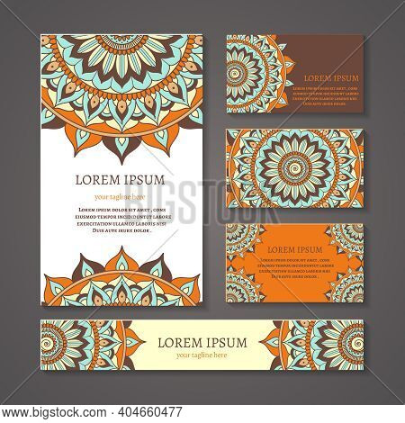 Banners And Business Cards With Arabic Or Indian Round Pattern. Mandala Design, Symbol Blank, Flower